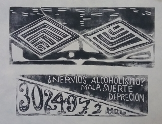 Lino Cut Block Print. 2018 Printed at the Art League Houston.