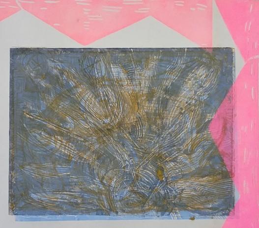At The Square, Monoprint, Linocut 2018